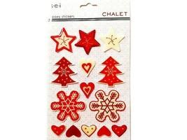 "SEI Epoxy ""Chalet"" Christmas Stickers, Set of 14"