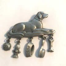 JJ Jonelle Jewelry Pewter Dog Pin Brooch with Hanging Charms Lv115 - $18.99
