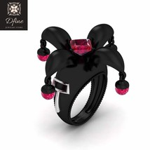 Super Villain Harley Quinn Anniversary Ring Womens Pink Crystal Ball Pink Ruby - $229.99