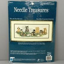 "20""x8"" NEW Needle Treasures Cross Stitch Kit ""Pets at Play Kittens"" 04655 Cats - $18.99"