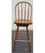 Nice Gently Used All Wood Swivel Bar Stool - Metal Foot Rail - VGC - GRE... - $118.79