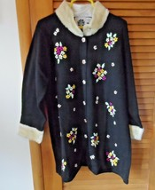 Storybook Knits size 2x black long sweater with ribbon flowers NWT - $58.00