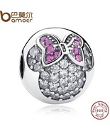 Buy 925 Sterling Silver Sweet Cute Lovely Minnie Pave Clip Charm Fit Bra... - $32.99