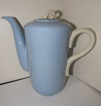 Vintage Homer Laughlin Skytone Coffee Pot Blue and White - $42.75