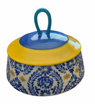 Anthropologie Jar Lid Canister Floral Painted Yellow Blue Candle Holder ... - $29.55