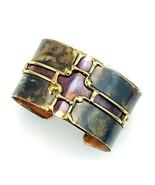 Vintage Flame Painted Copper Brass Wide Cuff Bracelet - €38,72 EUR