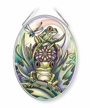 """Frogs Sun Catcher AMIA 7""""x5"""" Hand Painted Glass Don't Worry Be Hoppy New  - €25,24 EUR"""