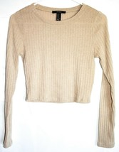Forever 21 Tan Brown Ribbed Knit Lightweight Crop Pullover Sweater Size M
