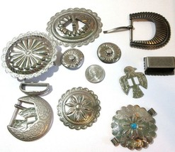 #5 LOT CONCHO SILVER TONE CRAFT FINDINGS SOUTHWESTERN PARTS PIECES HARDWARE - $18.00