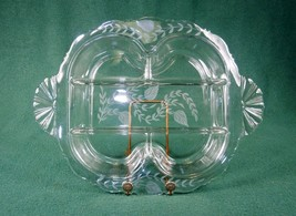 Etched Glass Relish Tray, 5 Sections, ~ Tiffin-Franciscan, Flower & Leaf... - $58.75