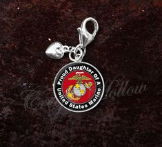 Sterling Silver Charm United States Marine Proud Choose Family image 5