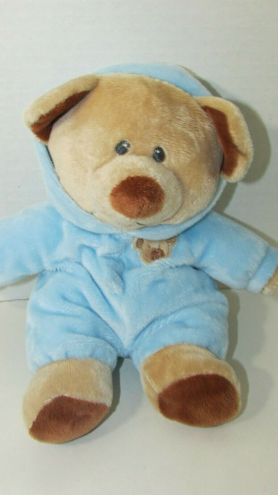 Ty tylux Pluffies tan Bear Blue attached hooded pajamas plush Love to Baby 2013