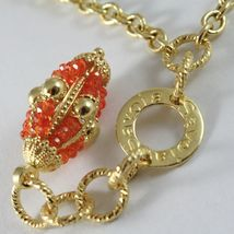 SILVER 925 NECKLACE YELLOW GOLD PLATED WITH HANGING CHARM MILLED AND CARNELIAN image 4