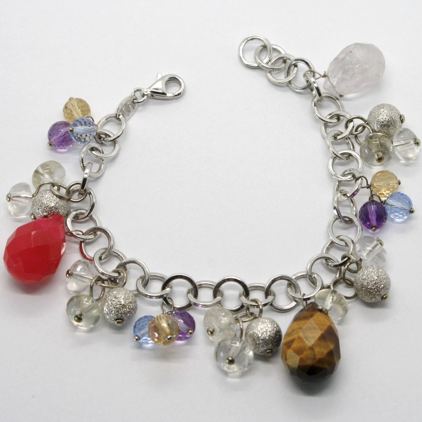 SILVER 925 BRACELET RHODIUM WITH TIGER'S EYE AND QUARTZ MULTICOLOUR