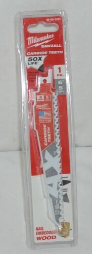 Milwaukee 48005221 Sawzall Blade Carbide Teeth Nail Shingles Cement Board