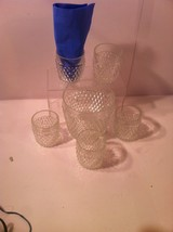 INDIANA GLASS ICE BUCKET & 6 GLASSES---DIAMOND POINT CLEAR---SHIPS FREE-... - $28.74
