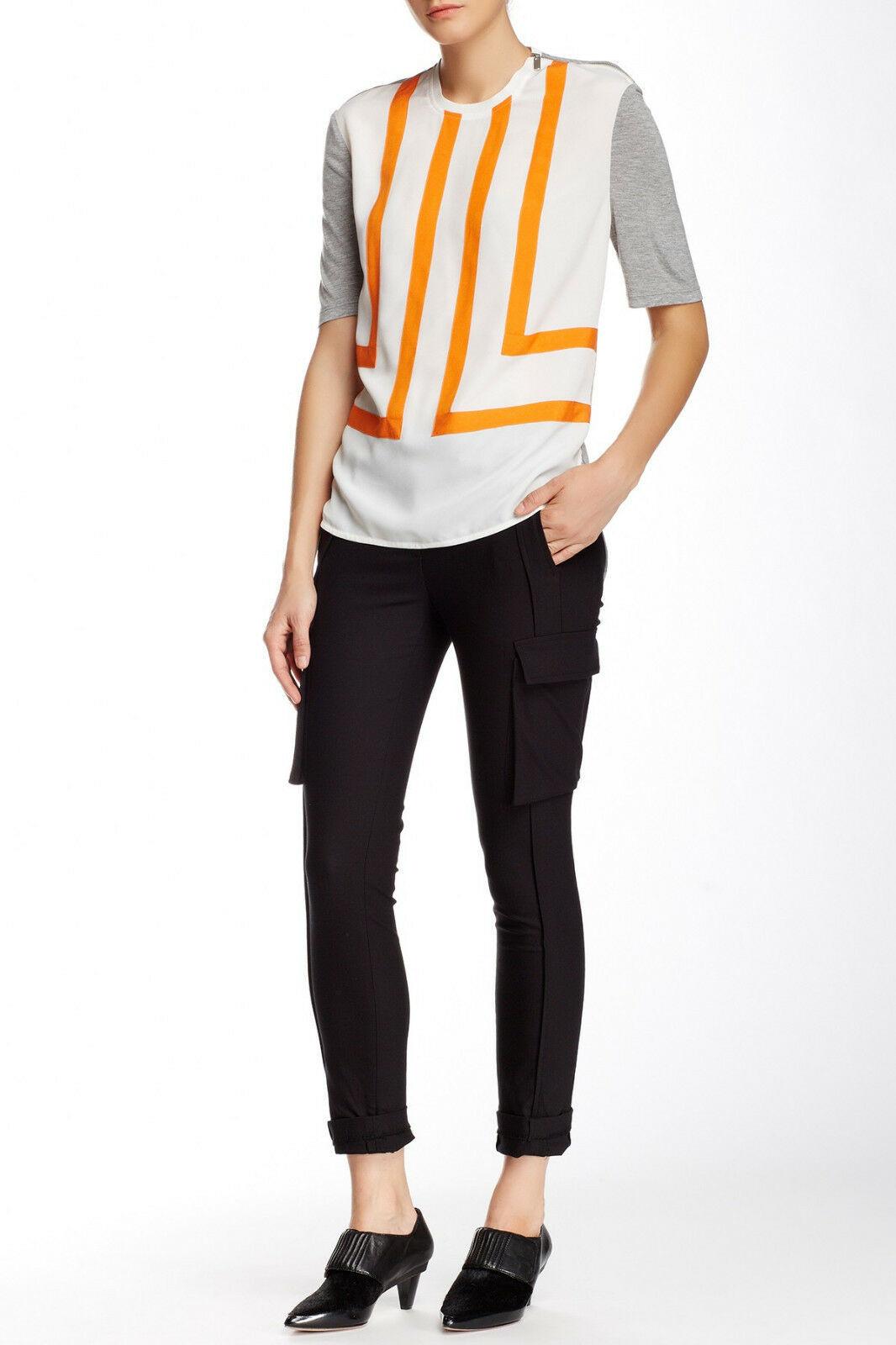 New Womens Designer NWT LAMB Gwen Stefani Cargo Pants Stretch Skinny 6 Black