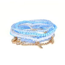Bohemian Bracelet Leaves Chain Multilayer Beads Bracelets for Women Gaga - $15.99