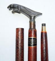 Antique Brass Jaguar Style Head Handle w/ Leather Wooden Walking Stick C... - $42.06