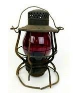 Antique Keystone Pennsylvania Lines Red Glass Globe Casey Railroad Lante... - $692.99