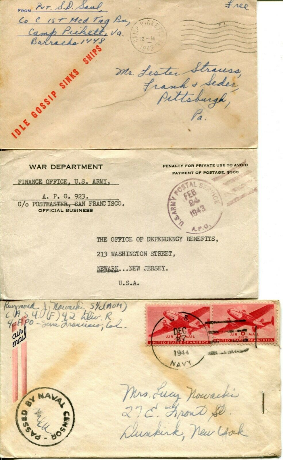 US Army Airmail WWII APO Navy Military Cover Examined Postage Collection  image 4