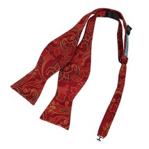 EBAB0115 Dark Red Patterned Bow Ties Microfiber Meeting Goods Self-tied ... - $14.69
