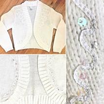 Vtg 80s Jamie Scott White Bolero Cardigan Sweater M S Crop Sequin Beaded... - $24.72
