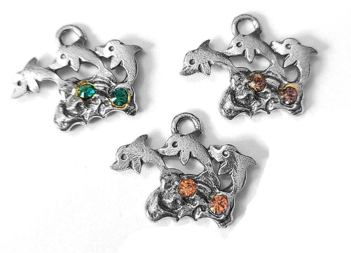 "Trio Of Jumping Dolphins Fine Pewter Charm Pendant   ~ 3/4"" Long X 1""   (T203)"