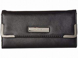 NWT Nine West Around The Clock Trifold Checkbook Wallet Black SHIP INTL - $36.00