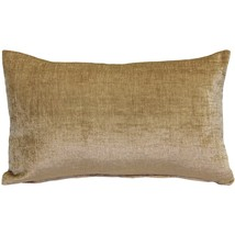 Pillow Decor - Venetian Velvet Golden Brown Throw Pillow 12x20 - $34.95