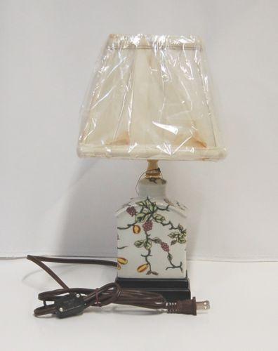 East Enterprises LPDMF085K Mini Tea Jar Porcelain Lamp Vines Grapes Flowers