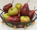 Wire Fruit Basket w/ Realistic Apples & Pears Metal Wire Acorn Maple Leaf Set 12