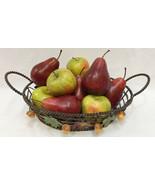 Wire Fruit Basket w/ Realistic Apples & Pears Metal Wire Acorn Maple Lea... - $32.66