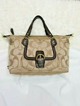 COACH G Campbell Signature C J1305-F25292 Khaki Handbag Purse Large - $42.08