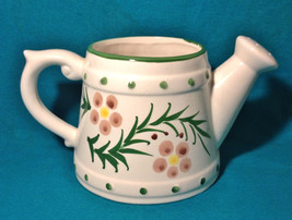 Vintage Ceramic Planter Vase Watering Can Sprinkler White Leaves Flower ... - €17,48 EUR