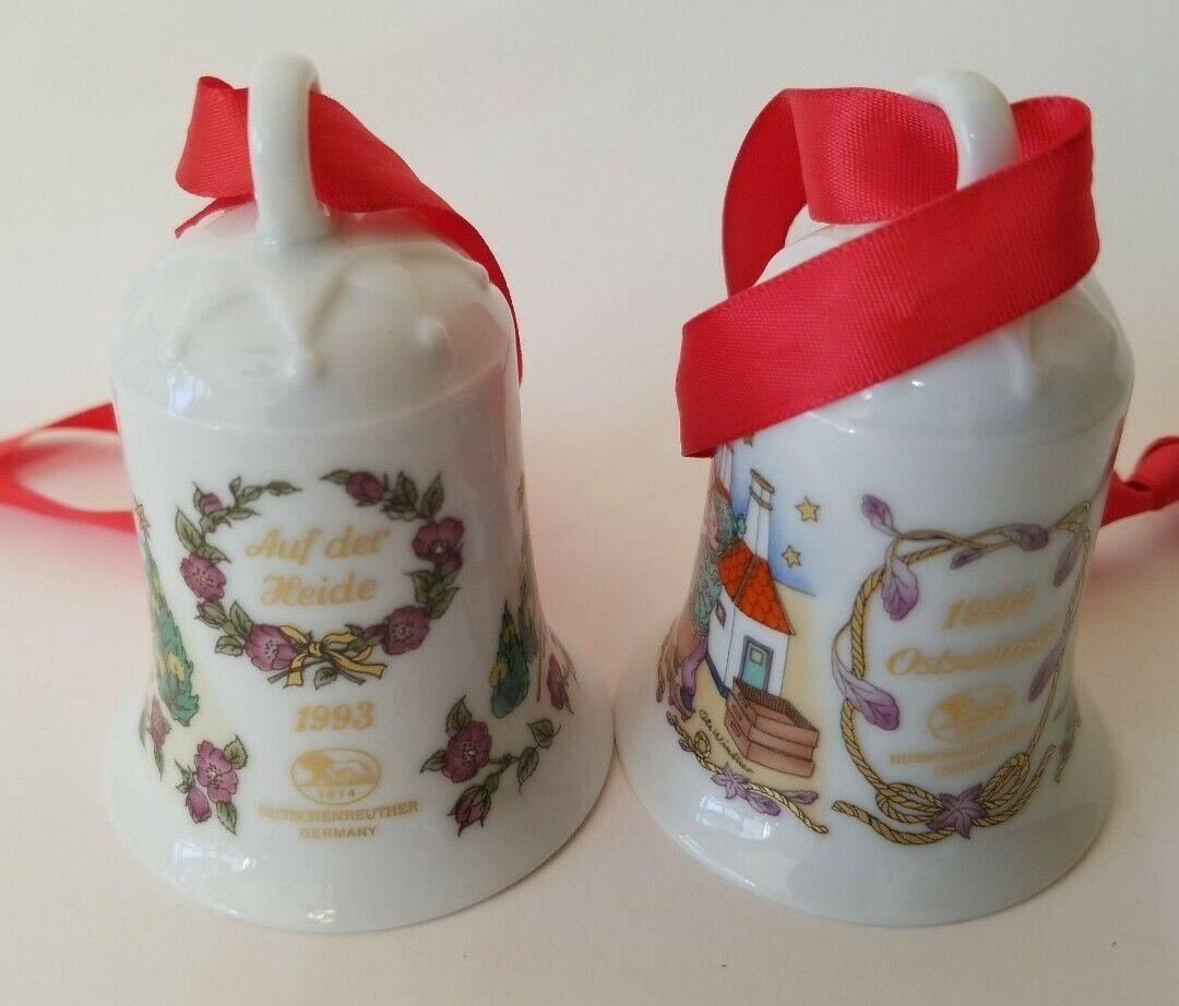 LOT OF 2 HUTSCHENREUTHER GERMANY PORCELAIN CHRISTMAS BELLS 1993 & 1994 No Box - $14.99