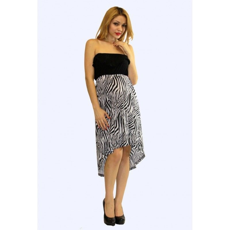 Sexy Strapless Black and Zebra Print Party Club Cruise Maternity Hi-Lo Dress USA