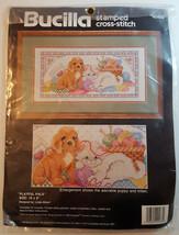 "BUCILLA Stamped Cross Stitch Kit 40488 Playful Pals Puppy Kitten Yarn 16x8"" NEW - $14.99"
