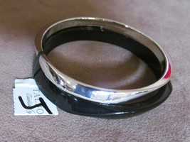 TALBOTS DUAL Black and Silver Toned Bangle Bracelet Set Abstract Look - NWT - $21.68