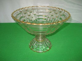 Vintage Clear Glass Pedestal Fruit Bowl Round Dish with Gold Trim - $14.92