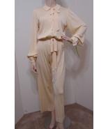 Vintage Jumpsuit Cream Jersey Knit Button Front LS Stretch Tassel Tie L - £273.67 GBP