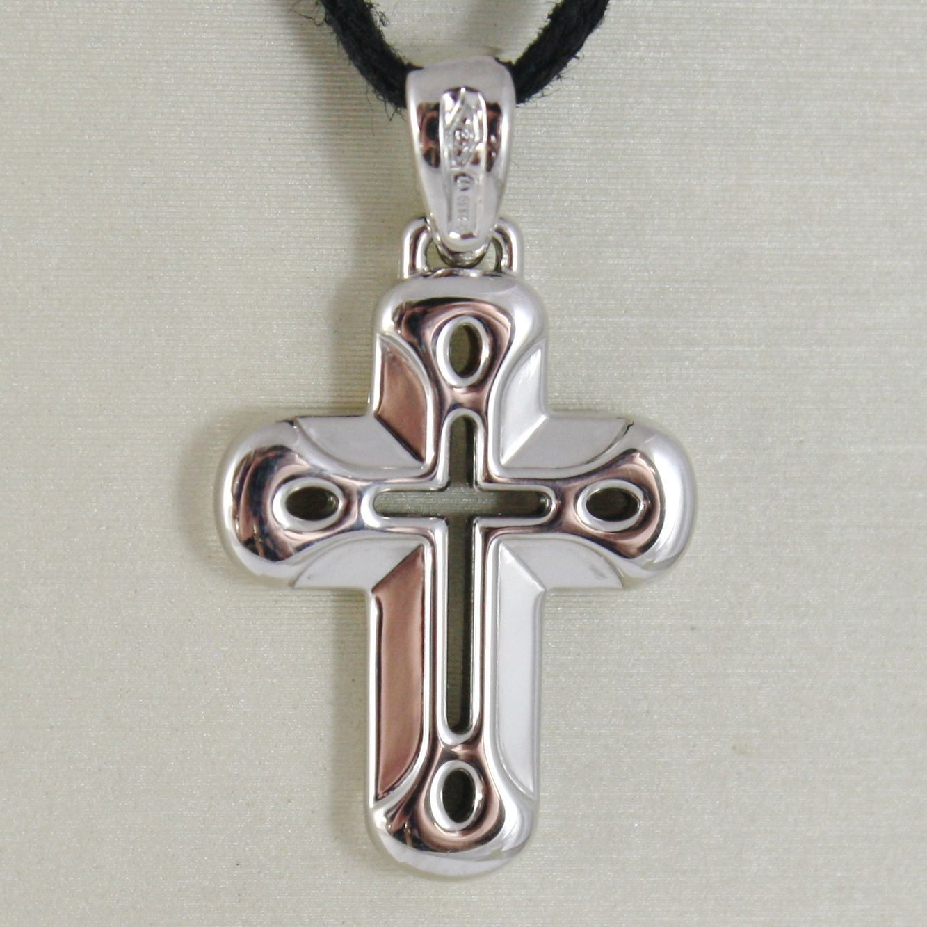 18K WHITE GOLD CROSS VERY SHINY AND LUSTER,  PERFORATED MADE IN ITALY 0.91 IN