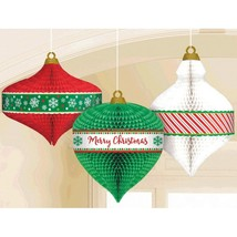 Christmas Ornament 3 Pc Honeycomb Hanging Decorations - $14.39