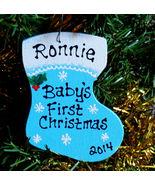 BABYS FIRST Christmas ORNAMENT Blue U CHOOSE NAME & YEAR Wood Stocking Boy Gift - $15.99
