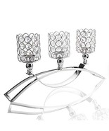 Micozy Silvery Crystal Candle Holders / 3-Candle Candelabras,Coffee Tabl... - $33.82