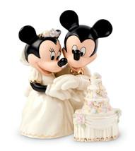 Lenox Disney MINNIE'S DREAM WEDDING CAKE w/Mickey Cake Topper Figure New - £51.32 GBP
