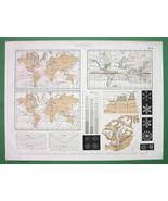 SNOWFLAKES Meteorology Phenomena World Maps - 1870 Antique Print Engraving - $10.71