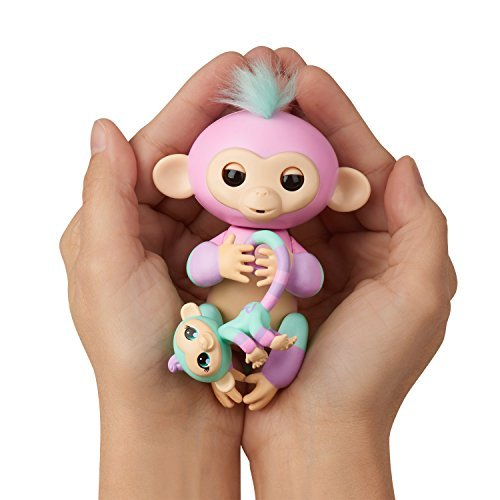 WowWee Fingerlings Baby Monkey & Mini BFFs Ashley and Chance Turquoise, Pink