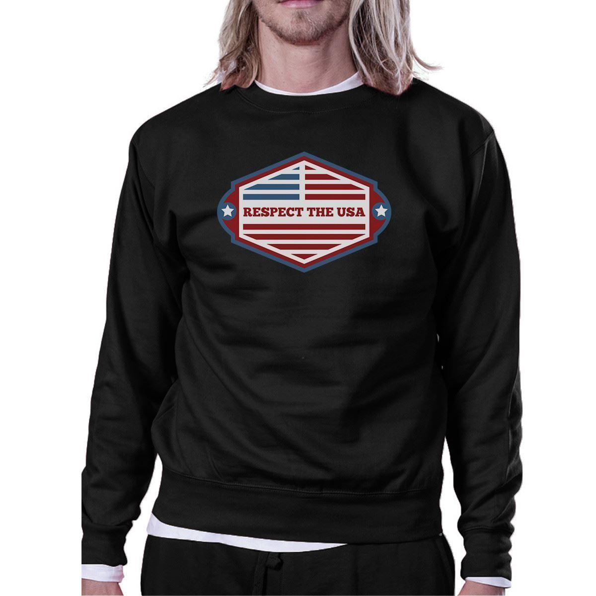 Respect The USA Unisex Black Sweatshirt Crewneck Pullover Fleece - $20.99 - $21.99