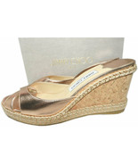 Jimmy Choo Rose Gold Woven Wedge Sandals Almer Slides Espadrilles Shoes 38 - $269.00